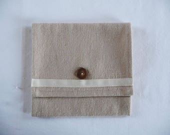 Beige fabric bag 100% cotton button closure