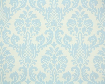 Retro Wallpaper by the Yard 70s Vintage Wallpaper - 1970s Blue and White Damask