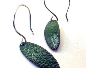 GREEN LEAF - Dangly Copper Enamel Earrings - Small, Oval Leaves on Handmade Sterling Silver Ear Wires - Enameled Nature Jewelry