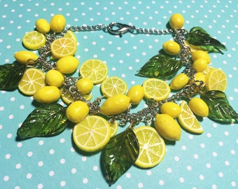 Retro 1950s Inspired Rockabilly Pinup Lemon Bracelet