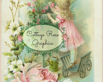 Flower box girl Pink roses Large digital download Victorian shabby cottage chic Buy 3 get one FREE