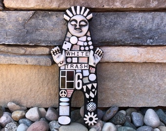 White Trash. (A Handmade Original Mixed Media Mosaic Art Doll by Shawn DuBois)