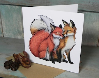 Fox Couple Illustration Square Greeting Card - 280gsm White Card 150 x 150mm Blank Inside with Brown Recycled Envelope