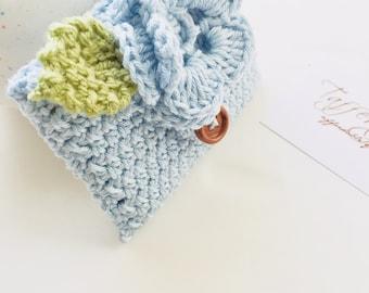 Crocheted Tea Travel Purse / Tea Purse / Tea bag Holder - in Pure Cotton - Light Blue
