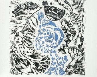 Lino Print Original fine art print - linocut print - Scattered Seeds