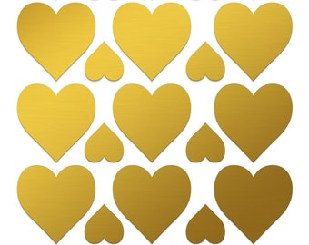 Gold Heart Stickers Large heart labels 1 1/2 inch gold heart label Gold gift wrapping Love envelope seal Scrapbooking sticker