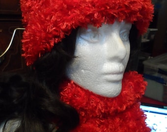 Fuzzy Red Crochet Winter Beanie Hat and Scarf Set