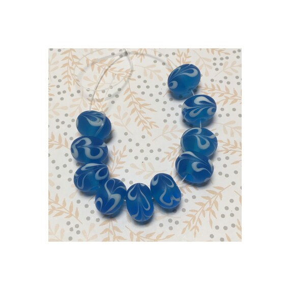 Frosted Blue Glass Lampwork Rondelle Beads with White Swirl 14 mm 10 beads