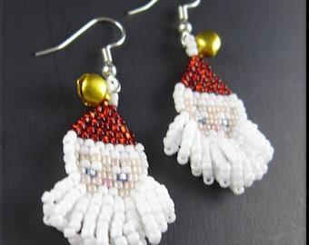 Santa Baby Christmas Beadwork Dangle Gold Bells Seed Bead Earrings