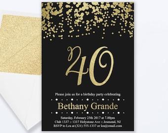 40th Birthday Invitations - Gold Confetti Invitation - Milestone Invite - 40th Birthday Invite - 40th Birthday Party