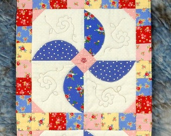 Whirligig Quilted Appliqued Table Runner - Table Topper - Yellow Backing
