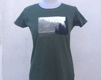 Hand-painted and hand-dyed shirt Acrylic paint  size S Forest Fog Meadow