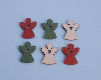6 Wooden Xmas Angels - 1:12 or 1/12 Scale Dollhouse Miniature, Natural, Red, Green, Xmas Market Stall, Traditional, German Xmas Market
