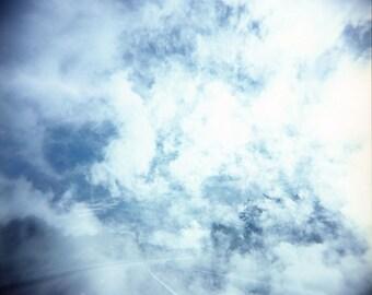 sky clouds photo, dreamy sky photo, fine art, photography print, decor, holga, spring, summer, dreamy road, travel decor, square, blue, zen