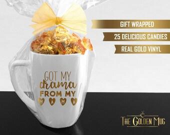 Got My Drama From My Mama Mug - Actress Mug - Gift For Actress Play artist - From My Mama Mug - Gift For Mom and Daughter Real Gold Foil Mug