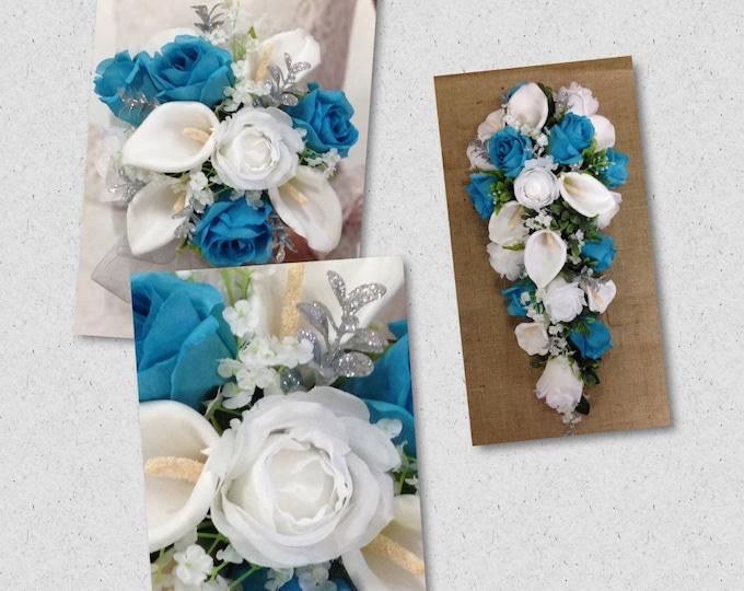 Artificial Malibu, Silver & White Wedding Bouquet, Malibu Wedding Flowers, Malibu Bridal Bouquet