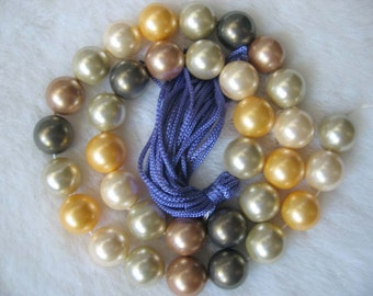 12mm Multicolor South Sea Shell Pearl Beads - 16 Inch Strand