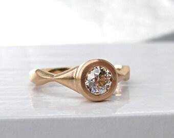 Bague de fiançailles de profil bas, serti clos rose 18 carats or semi-mount, bague en voile style antique bague de fiançailles de montage