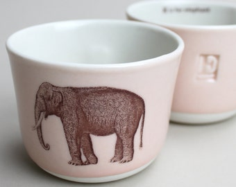 E is for elephant wee tea cup in rose