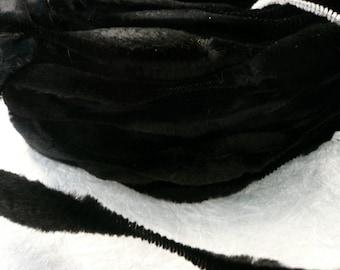 Vintage Black Velvet Bump Chenille  NOS 1 yard