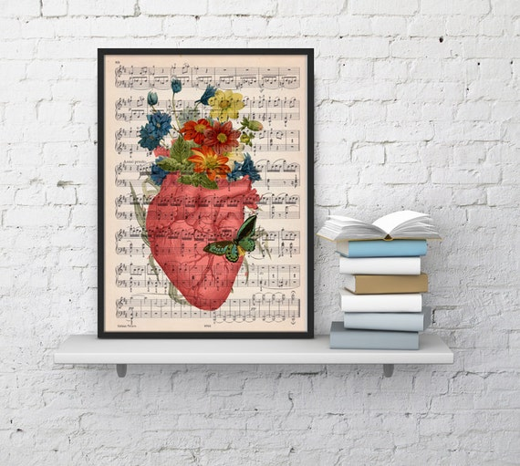 Pink human heart with flowers over music sheet- Spring time heart print over music sheet SKA088MSLb