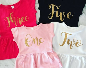 girls birthday shirt, baby girl, pink and gold, black and gold, gold glitter birthday shirt, fashion top, peplum, gorgeous calligraphy font