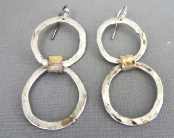 Silver and Gold Hoop Earrings, Modern Silver Jewelry, Boho Earrings, Hammered and Oxidized Hoops, Gifts for Women, Long Dangle Earrings