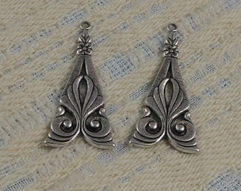 Antiqued Sterling Silver Plated Brass Filigree Drop Pendant (1 pair) 33x16mm S-8177S