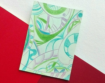 Abstract artwork ACEO original art card coloured pencil drawing - Natural in Green Blue Purple ATC artists trading card