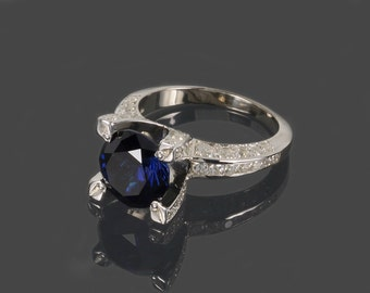 Sapphire ring, Blue sapphire ring, Silver sapphire ring, Blue stone ring, Gemstone ring, Engagement ring, Promise ring, Birthstone ring