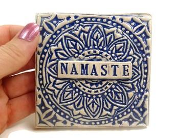 Namaste Tile, Boho Dorm Decor, Mandala Wall Art, Yoga Decor, Buddhist Decor, Bohemian Decor, Meditation Altar,Mandala Art,Boho College Decor