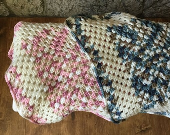 Large Granny Square Afghan, Lap Afghan, Baby Blanket, Dog Blanket, Crochet, Handmade, Made in CA