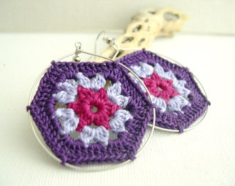 Granny Hexagon Crochet Earrings - Big Hoop Earrings - Fashion earrings -  Colorful earrings  - Bohomian earrings - Purple lavender pink