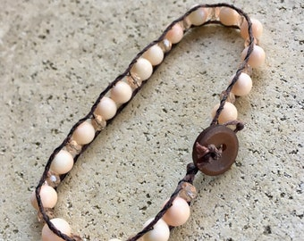 pink jade and crystal bracelet