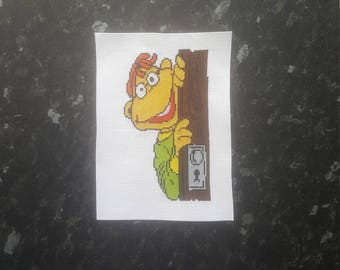 Scooter The Muppet Show, Completed Cross Stitch, Wall Hanging, Un Framed Picture, 18 count Aida, Point de Croix, Needlepoint, Handcrafted