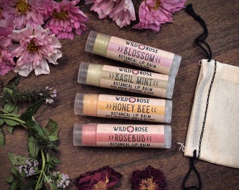 Lip Balm Gift Set GARDEN Honey Bee Rosebud Blossom Basil Mint stocking stuffer