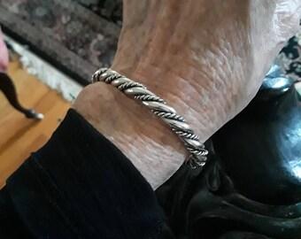 Sterling silver native American rope twist cuff