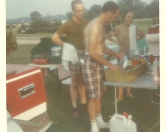 """Vintage Photo """"I'll Wash, You Dry"""" Guys Cleaning Up After Cookout Plaid Bermuda Shorts Kodacolor Snapshot 1968 Found Vernacular Photo"""