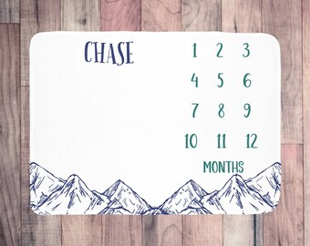 Personalized Baby Month Blanket - Track baby's growth, photo prop, perfect baby shower gift, customized with baby's name, baby boy gift