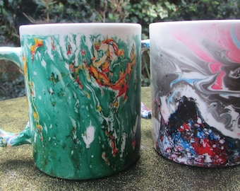 Marbled Mugs (pair), tea lover, coffee lover, couples gift, contrasting patterns
