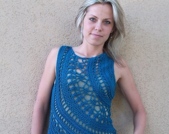 Crochet Pattern PDF - Galactic Orbits Top - sizes XS to XL - crochet doily round top pattern - boatneck circle tank top pattern in English