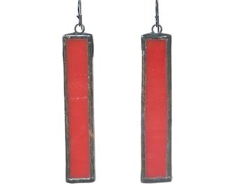 Red Earrings, Red Glass Earrings, Stained Glass Earrings
