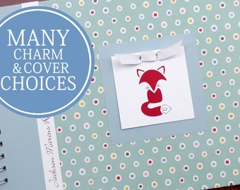 Gender Neutral Baby Memory Book | Personalized Baby Album & Journal | Small Multi Polka Dot with Fox Charm