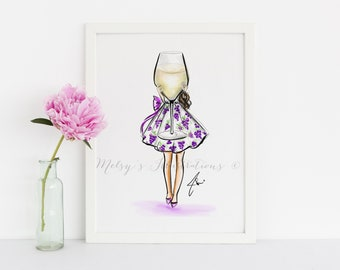 Grigio Girl  (Fashion Illustration Print) (Fashion Illustration Art - Fashion Sketch prints - Home Decor - Wall Decor -Wine  )