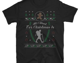 Hiking Trail Hiking Mountain Hiking All I Want For Christmas Ugly Sweater Shirt Design