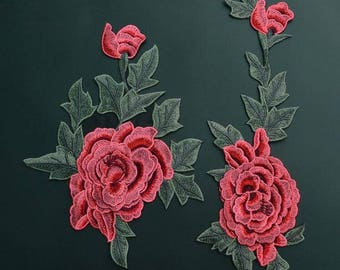 Flower Applique/ Embroidered Flower Applique/ Pink Flower Applique Elongated Design.Embroidery Rose Patches sew on patches