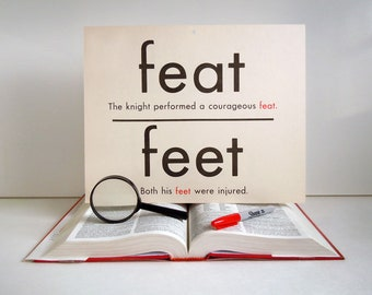 Vintage Giant Feat Feet Red Read Word Flashcard | 11x14 Homonym Poster | Home Decor