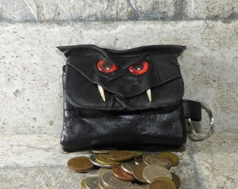 Mit Reißverschluss Münze Geldbörse schwarz Leder Geldbörse Monster Gesicht Beutel Schlüssel Wechselring 253