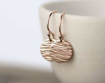 Textured Rose Gold Earrings Handmade, Gift for Her, Jewelry Earrings, Rose Gold Dangle Earrings, Gift for Women, Jewelry Handmade, Burnish