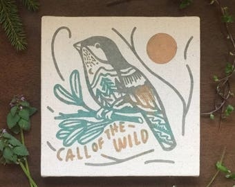 Call of the Wild 8 x 8 Nature Bird Screen Print Canvas Home Decor